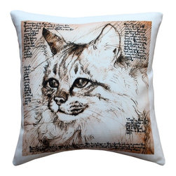 Pillow Decor - Leonardo's Dogs Maine Coon Cat Pillow - Created in the style of a Leonardo da Vinci sketch, this image of a Maine Coon cat is applied to a wonderfully soft and natural feeling indoor/outdoor poly-linen fabric. The Maine Coon Cat Throw Pillow makes a great gift for any cat lover. A Leonardo's Dogs original.