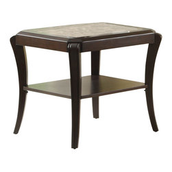 Homelegance - Homelegance Q. Pfifer Square End Table with Faux Marble - Pairing the warm cherry finish of the Q. Pfifer collection with the decorative accent of faux marble inlay and the clean look of The glass inserts, creates the perfect transitional occasional collection for your home.