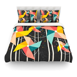 """Kess InHouse - Danny Ivan """"Colorful Pinwheels"""" Black Abstract Cotton Duvet Cover (Twin, 68"""" x 8 - Rest in comfort among this artistically inclined cotton blend duvet cover. This duvet cover is as light as a feather! You will be sure to be the envy of all of your guests with this aesthetically pleasing duvet. We highly recommend washing this as many times as you like as this material will not fade or lose comfort. Cotton blended, this duvet cover is not only beautiful and artistic but can be used year round with a duvet insert! Add our cotton shams to make your bed complete and looking stylish and artistic! Pillowcases not included."""