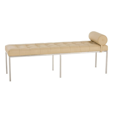 Arteriors - Grayson Bench - This tufted bench adds a classic touch to any decor. The Grayson Bench is upholstered in ivory leather and features a removable round accent pillow and a polished nickel base. Looks great at the foot of a bed, or try two flanking a fireplace.