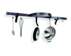 Enclume - Hammered Steel Enclume Wall Shelf with Half Circle Pot Rack - This clever space-saving pot rack includes lots of storage, not lots of bulk.  The semicircle in the middle gives you plenty of space to hang large pots, while traditional pots, pans and utensils hang gracefully from the long bar. Mount it over the sink or stove to keep kitchen essentials at your fingertips.