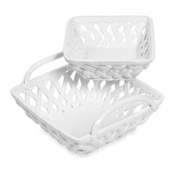 Sango - Tabletops Unlimited Square Bread Basket (Set of 2) - These hand woven ceramic baskets from Tabletops Unlimited can be heated or chilled to keep breads warm or fruits cold. Designed for efficient, worry-free serving, these oven-safe, microwavable, and dishwasher safe baskets are also beautifully crafted.