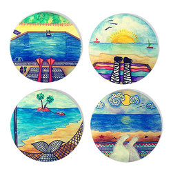 Decortie - DECORTIE FELT COASTER SETS (4 Pieces), Vacation - Perfect gift for a friend