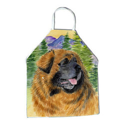 Caroline's Treasures - Leonberger Apron - Apron, Bib Style, 27 in H x 31 in W; 100 percent  Ultra Spun Poly, White, braided nylon tie straps, sewn cloth neckband. These bib style aprons are not just for cooking - they are also great for cleaning, gardening, art projects, and other activities, too!