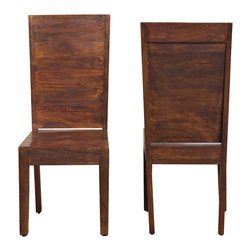 Modus Furniture International - Palindrome Flat Back Chair in Chestnut (set of 2) - Handmade and hand-finished by skilled artisans in India, the Palindrome collection is certain to elicit the envy of your dinner guests. With its bold symmetry and generous proportions, the dining table is truly a conversation piece. Solid wood chairs require no assembly and use saddle carvings to create a surprisingly comfortable seat. The set is crafted entirely from Mango solid wood and uses time-honored construction techniques to ensure lasting quality. From dovetailed table corners and angle braced chair legs to the rabbet jointed cube, proud carpenters have pored over every detail to create a product that will withstand the test of time.