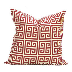 None - Red Greek Key Feather Down Filled Throw Pillow - Add the dash of color that your home decor needs with this stunning red and ivory Greek Key pillow. This cotton pillow features a comfortable down insert with a removable cover that can be machine washed.