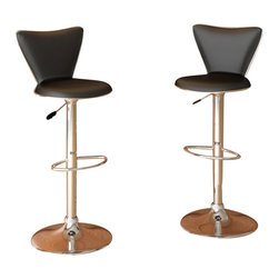 Sonax - Sonax CorLiving Tall Back Bar Stool in Black Leatherette (Set of 2) - Sonax - Bar Stools - B207UPD - Add spice to any bar or kitchen island with the Bar Stool. Featuring Black soft leatherette upholstery and a full curved back this chair is the ultimate choice in both style and comfort. Accented with a chrome foot rest, gas lift and base this bar stool easily adjusts to variable bar heights to suit your dining needs. A great addition to any home!