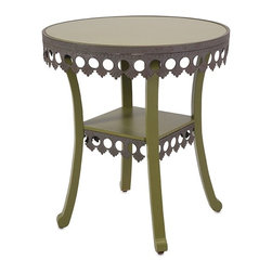IMAX - Ella Elaine Accent Table - Green - An accent piece that gives new meaning to the term dressing table: A feminine table in green painted birch with a lacy metal skirt.