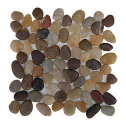 "Cobblestone Multicolored Flat-Finish Marble Mosaic Tiles - Cobblestone Multicolored Flat Finish Marble Tile This is real marble rocks of various sizes that have been halved and hand set on a fiberglass mesh backing. Create an unique and attention-grabbing back splash or focal point of your room with this cobblestone in multicolored This is great for walls in a bathroom, fireplace or as a back splash. You can clean cut the sheet to make borders and buttons of any size. Chip Size: Random Flat Color: Mulitcolored Material: Cobblestone Marble Finish: Polish Sold by the Sheet - each sheet measures 12""x12"" (1 sq. ft.) Thickness: 8mm"