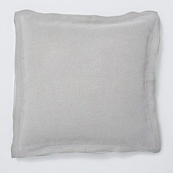 "Linen with Silk Trim Pillow Cover 20"" sq., Granite Gray - Made of a refined linen blend with a silky flange, our cover is equal parts luxurious and casual. 20"" square Made of linen with a silk flange. Zipper closure. Insert sold separately; down blend or synthetic. Dry-clean only. Imported."