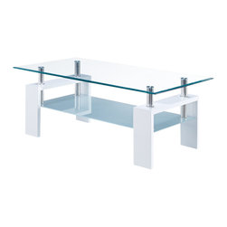 Global Furniture - Global Furniture USA T648 Rectangular Glass Coffee Table with White Legs - This table is complete with clear top glass and frosted bottom glass with black legs to finish the look.