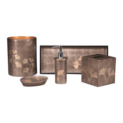 Belle & June - Ginko Bath Set - It's not just your bathroom, it's your personal haven. So beautify it with this elegant and exotic handmade set, crafted with an age-old lacquer layering technique.
