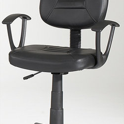 Chintaly Imports - Swivel Pneumatic Gas Lift Office Chair - Pneumatic gas lift adjustable height swivel computer chair. Seat and back are upholstered in black PVC. Tailored and contoured seat and back. 5 Star caster base allow the chair to move with ease.