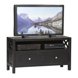 Linon Home Decor - Linon Home Decor Anna Collection Media Center X-U-DK-10-421C60168 - Whether your style is traditional or modern the stunning Antique Black finish with red rub through on the Anna Media Center Plasma Center will blend seamlessly into your d&#233:cor.    This TV Stand has two drawers which provide convenient storage for your magazines, remotes, movies, or other items, and the shelf can be used to house your electronic components or to display your favorite keepsakes.