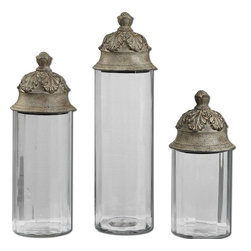 Joseph Famulari - Joseph Famulari Acorn Canister X-41791 - Clear glass cylinders topped with textured brown lids with a heavy tan glaze. Not recommended for food storage. Sizes: Sm-6x14x6, Med-6x18x6, Lg-6x21x6