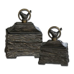 Uttermost - Uttermost Billy Moon Decorative Box in Metallic Gray Ceramic - Shown in picture: Metallic Gray Ceramic With Antiqued Bronze Metal Accents. Removable Lids. Metallic gray ceramic boxes with antiqued bronze metal accents. Removable lids. Sizes: Sm-6x8x4 - Lg-8x10x6