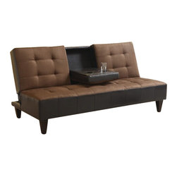 "Acme - Kei Two Tone Chocolate Microfiber Fabric and Leather-Like Upholstery - Kei two tone chocolate microfiber fabric and leather like upholstered adjustable sofa futon bed with center fold down arm rest with cup holder. This set features a two tone microfiber fabric and leather like upholstery and a folding back to lay flat to convert to a sleep area. Measures when flat 71"" x 44"" x 17""H. Measures when upright 71"" x 35"" x 35""H. Some assembly required."