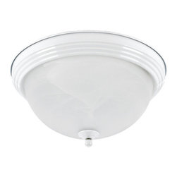 """Sea Gull Lighting - Sea Gull Lighting 79177BLE Compact Fluorescent Energy Star Two Light Flush Mount - Two Light Fluorescent Flush Mount Ceiling Fixture featuring Alabaster glassEnergy Star Compliant - Meets Title 24 Efficacy StandardsIncludes 6 1/2"""" of wireRequires 2 GU24 Self Ballasted 13w max Bulbs (Included)UL Listed for Damp Locations"""