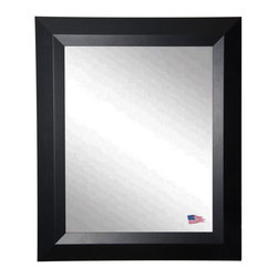 Rayne Mirrors - USA Made Contemporary Matte Black Wall Mirror - Accent your favorite room with this classic, time honored wall mirror design.  Rayne's American Made standard of quality includes; metal reinforced frame corner  support, both vertical and horizontal hanging hardware installed and a manufacturers warranty.