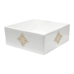 Decorated Porcelain Company - Fancy Emblem Hand Painted Sink, Gold - Add an elegant touch to your bathroom or powder room with this decorative metallic gold emblem on a white square vessel sink. All of our fixtures are hand-made to order in the USA and kiln-fired for long-lasting durability.