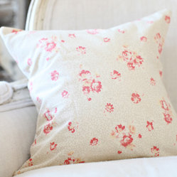 French Cream and Pink Floral Pillow Slip