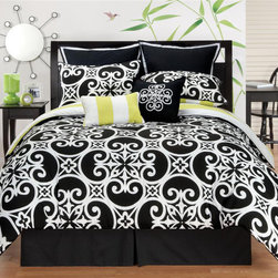 None - Kennedy Reversible 8-piece Comforter Set - Add contemporary style to your bedroom with this striking black and white reversible comforter set. This polyester set is machine washable for easy care. It has a black and white classic print on one side and bold lime and white stripes on the other.