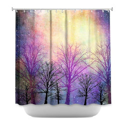 DiaNoche Designs - Shower Curtain Artistic Trees - Sewn reinforced holes for shower curtain rings. Shower Curtain Rings Not Included. Dye Sublimation printing adheres the ink to the material for long life and durability. Machine Washable. Made in USA.