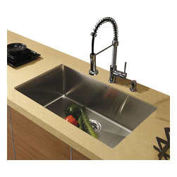 Vigo - Vigo Undermount Stainless Steel Kitchen Sink, Faucet and Dispenser - If sophistication and style fits your taste, then show it with a Vigo kitchen sink, faucet and soap dispenser.