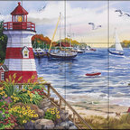 The Tile Mural Store (USA) - Tile Mural - Safe Harbor - Nw - Kitchen Backsplash Ideas - This beautiful artwork by Nancy Wernersbach2 has been digitally reproduced for tiles and depicts a lighthouse by a harbor with sailboats  Our lighthouse tile murals and nautical themed decorative tiles are perfect as part of your kitchen backsplash tile project or your tub and shower surround bathroom tile project. Lighthouse images on tiles add a unique element to your tiling project and are a great kitchen backsplash idea. Use a lighthouse scene tile mural for a wall tile project in any room in your home where you want to add interest to a plain field of wall tile.