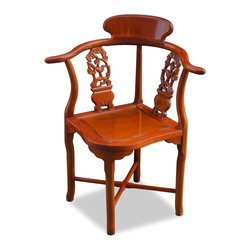 China Furniture and Arts - Rosewood Flower & Bird Design Corner Chair - If you have a space that is too small for an armchair yet looking inartistically bare to leave it unfilled, a corner chair is the best solution. Practical and stylish, this chair is hand carved with delicate flowers and birds and handcrafted by skillful artisans in China. It not only provides extra seating in your home, the unique angle of corner chair makes it a deserving piece of art. Hand applied natural rosewood finish enhance the beauty of the wood grain.