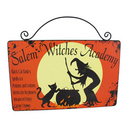 `Salem Witches Academy` Wooden Wall Plaque - This adorable wall plaque is a wonderful addition to your Halloween decor. It advertises the classes you can take at the Salem Witches Academy, complete with a full moon, bubbling cauldron, black cat and witch logo. The sign is made of wood and measures 10 inches long, 8 1/2 inches tall (including the wire hanger).