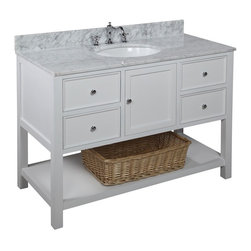 Kitchen Bath Collection - New Yorker 48-in Bath Vanity (Carrara/White) - This bathroom vanity set by Kitchen Bath Collection includes a white cabinet with soft close drawers, Italian Carrara marble countertop, single undermount ceramic sink, pop-up drain, and P-trap. Order now and we will include the pictured three-hole faucet and a matching backsplash as a free gift! All vanities come fully assembled by the manufacturer, with countertop & sink pre-installed.