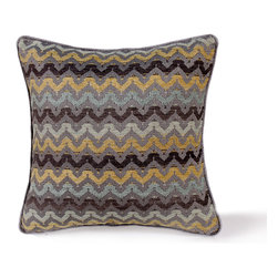 14 Karat Home - Wynn Pillow - Bright and bold, this striking d̩cor pillow is a must-have for your room.  The tribal inspired design is on a chenille fabric in rich shades of grays, yellows and blues. The reverse side is a soft solid gray chenille. The solid gray binding around the pillow brings focus to the pattern.  Mix and match this pillow with other patterns and colors to create a lively space.