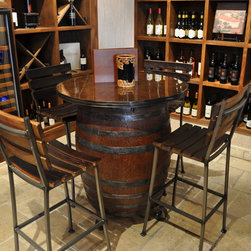 Wine barrel table -