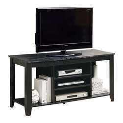 """Monarch Specialties - Monarch Specialties 3526 48 Inch Marble Top TV Console in Black and Grey - This 48"""" long TV console will be a fashionable addition to your living room, offering clean lines and ample storage space. The transitional style TV stand has a rich black finish, with a grey marble-look surface for your television. Three open shelves in the center are ideal for placing electronic components, as well as the side shelves are great for storage of movies, games, or decorative pieces. For a perfect finishing touch, this lovely piece is completed with tapered legs will blend effortlessly in any decor."""