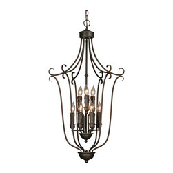 Golden Lighting - Multifamily 9-Light Caged Foyer - Love candles but not the mess? This caged foyer chandelier gives you the look of dripping candles without the potential fire hazard.