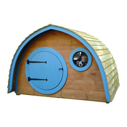 Wooden Wonders - Little Merry Hobbit Hole Playhouse base kit - A playhouse with a pedigree, this fairy tale Hobbit© Hole is fun, finely crafted and full of possibility. Encourage imaginative play and enjoy a camping hut when your kids outgrow the playhouse stage. Handcrafted by a Maine family of natural pine lumber, parents you will be unpacking your sleeping bag soon. Cedar roofing not included.
