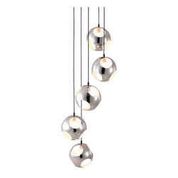 Zuo - In the Wind Chime Chrome Ceiling Light - The In the Wind Chime Chrome Ceiling Light will shine light through its chrome orbs and create an intricate pattern of shadows and reflections giving depth and dimension to your space.  Guests will gaze at this unique light that will go perfect in spaces with high ceilings.  Spanning more than 7 feet, the oversized light fixture is playful, grand and the perfect statement piece both indoors or outdoors.