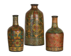 Handpainted Moroccan Multicolor Sachi Terracotta Vases S/3 - *Made Of Terracotta, These Vases Feature Hand Painted Designs In Multiple Colors And Patterns