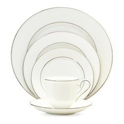 Lenox - Lenox 'Hannah Platinum' 20-piece Dinnerware Set - A graceful white color defines this lovely Hannah Platinum bone china dinnerware set from Lenox. Highlighting a glistening platinum band,its subtle beauty is timeless adding an inviting atmosphere to any table setting.