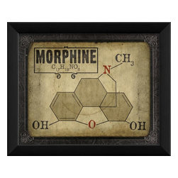The Artwork Factory - Morphine Molecule Framed Artwork - Ready-to-Hang, 100% Made in the USA, museum quality framed artwork