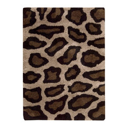 Nourison - Nourison Splendor SPL18 5' x 7' Beige Black Area Rug 01141 - A fabulous giraffe motif turns this thick, rich shag into a design accent that's spot-on for casual elegance! Gorgeously textural and delightfully playful, it's the perfect way to express your animal instincts. Bold brown/black color scheme is at home in all types of decor.
