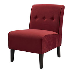Linon - Linon Coco Red Accent Chair in Dark Walnut - Linon - Accent Chairs - 36096RED01KDU - Classic design meets modern appeal in this superbly comfortable upholstered chair. Substantial, durable padding and a sturdy hardwood frame makes for long lasting utilization. The mix of fabric, button tufting and clean lines adds an air of sophistication and elegance to virtually any home decor. A functional and artistic addition to your living room, bedroom, or den. The rich dark walnut finish frame is complimented by the luxurious red fabric.
