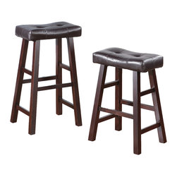 Adarn Inc. - Set of 2 Barstools Stools Faux Leather Saddle Seat, Brown, Counter Height - Contemporary fashion for your living spaces delivered with these 3 colors framed stools with faux leather rectangular shaped seat cushions. This bar stool is designed with pure modern composition. It's seating is covered in White, Brown, Black/ Brown faux leather with a medium shine for a luxurious feel. The stool legs resemble a painters bench for a casual presence, making it a perfect fit for any dining or entertaining experience. Available in a counter Height stool and barstool height.