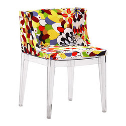 Modern Poly Blend Fabric Dining Chair - Salute the spirit of Pop Art with these fantastically vibrant dining chairs. With their super-luxe fabric upholstery and clear polymer legs, these dining chairs are a punchy addition to your bohemian or modernist home. Fun and fabulous!