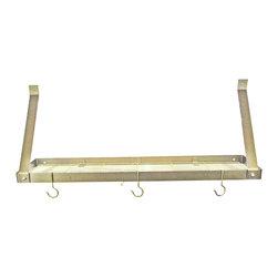 "Rogar - Bookshelf W/Grid, Hammered Bronze/Brass - Dimensions: 35"" W x 8.5"" D x 14"" H"
