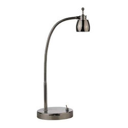 LEDs by ZEPPELIN - Gooseneck LED Desk Lamp in Polished Chrome Finish - 5600K LED - 821-26 - This sleek LED lamp packs a bright punch in a small package. The integrated LED is 5-watts, 250 lumens, and has a 5600K color temperature. Rated to last an average of 30,000 hours. Takes (1) 5-watt LED bulb(s). Bulb(s) included. UL listed. Dry location rated.