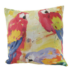 Manual - Polly's Parrot Trio Indoor/Outdoor Pillow 20 In. - This 20 inch throw pillow adds a wonderful accent inside your home, or outdoors on your porch or patio. The Climaweave fabric is durable, fade and moisture resistant, and is sure to look and feel great for years, wherever you display it. The front of the pillow features a gorgeous watercolor style print of three colorful parrots, and the back features a print of palm fronds in coordinating colors. It is made of 100% polyester, from the cover to the soft stuffing, and is proudly made in the USA.