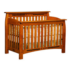 Chelsea Home Furniture - Chelsea Home Canterbury Crib in Medium Cherry - If children go through stages as they grow  so should their furniture. The Canterbury Convertible Crib Set is a solid wood 3-stage bed system that is constructed with quality and durability to transition any newborn into adulthood with elegance. The crib set  shown with Sap Cherry wood and Medium Cherry Stain  is built in classic Mission Style   which originated in the early 19th century  highlighting simple vertical and horizontal lines and utilizing the natural wood grain detail. This CPSC 16 CFR 1219 & 1220 compliant convertible piece is complete with guard rail and 3-level mattress support  and simple transition instructions to keep your child resting easy and comfortable.
