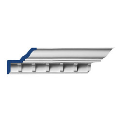 """Inviting Home - Mayfair Crown Molding - 14 foot length - Mayfair dentil crown molding 3-7/8""""H x 4-9/16""""P x 5-13/16""""F x 14'00""""; design repeat - 2-7/8"""" 4 piece minimum order required crown molding specifications: - outstanding quality crown molding made from high density polyurethane: environmentally friendly material is hypoallergenic and fully recyclable no CFC no PVC no formaldehyde; - front surface of this molding has extra durable and smooth surface; - crown molding is pre-primed with water-based white paint; - lightweight durable and easy to install using common woodworking tools; - metal dies were used for consistent quality and perfect part to part match for hassle free installation; - this crown molding has sharp deep and highly defined design; - matching flexible molding available; - crown molding can be finished with any quality paints; Polyurethane is a high density material--it's extremely lightweight and easy to install (and comes primed and ready to paint). It is a green material meaning its CFC and formaldehyde free. It is also moisture resistant--so it won't shrink flex or mold. What's also great about Polyurethane is that it's completely customizable and can be treated as wood (you can saw it nail it screw it and sand it). In addition our polyurethane material comes primed and ready to paint. There is a four piece minimum requirement for this molding purchase."""